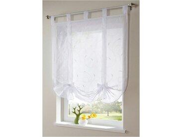 i@home Bändchenrollo »Bestickt Raffrollo Gardinen Vorhang Fenstergardinen Scheibengardinen«, mit Schlaufen, mit Stickerei, weiß, Weiß
