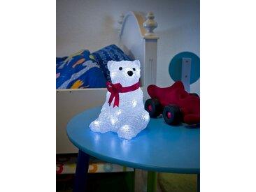 KONSTSMIDE LED Eisbär mit Schleife, weiß, Lichtquelle kalt-weiß, Transparent