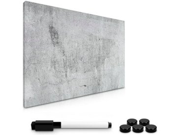Navaris Magnettafel, Magnetpinnwand Memoboard zum Beschriften - 60x40 cm Notiztafel Sichtbeton Design - Tafel abwaschbar mit Halterung Magneten Stift