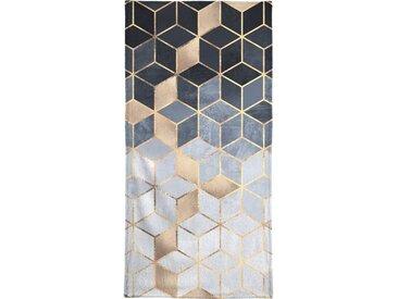 Juniqe Handtuch »Soft Blue Gradient Cubes« (1-St), Weiche Frottee-Veloursqualität