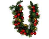 näve LED-Lichterkette »LED-Weihnachtslichterkette mit Dekoration l: 100cm - rot«, Timer, grün