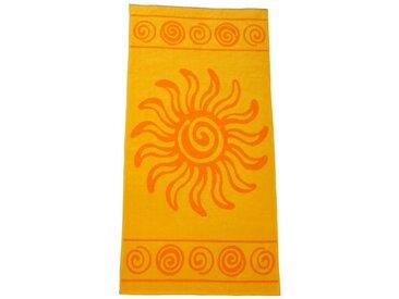 Dreams Strandtuch »Sunny Days«, weiche Frotteevelourqualität mit Streifen, Karos, trendigen Motiven, gelb, Sonne, gelb