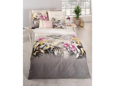 Kaeppel Bettwäsche »Kimono«, im Blumenmuster, silberfarben, 1 St. x 155 cm x 220 cm, Feinbiber, platinfarben