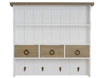 elbmöbel Wandregal »Wandregal braun weiß Holz«, Wandregal Wandablage Garderobe braun weiß Landhaus antik Gewürzregal Holz 60x67