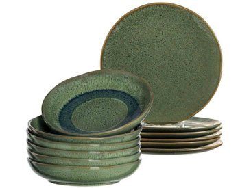 LEONARDO Geschirr-Set »MATERA Geschirr Tafelservice grün 12-teilig« (12-tlg), Keramik