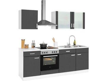 wiho Küchen Küchenzeile »Husum«, ohne E-Geräte, Breite 220 cm, grau, anthrazit