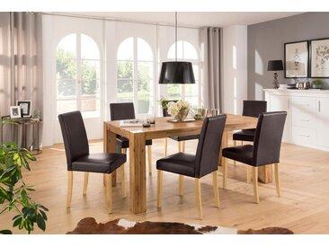 Home affaire Essgruppe »Silje«, (Set, 7-St), bestehend aus 6 Lucca Stühlen und dem Maggie Esstisch, braun, braun