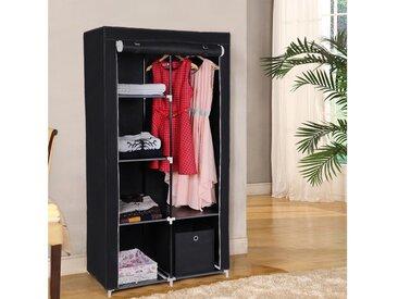 SONGMICS Kleiderschrank »RYG84M RYG84G RYG84H« Stoffschrank, 2 Kleiderstangen, 6 Ablagen, 88 x 45 x 170 cm, schwarz, schwarz, schwarz