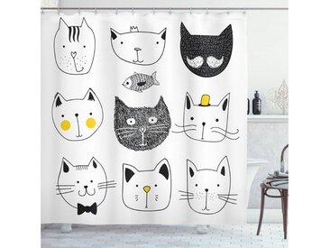 Abakuhaus Duschvorhang »Moderner Digitaldruck mit 12 Haken auf Stoff Wasser Resistent« Breite 175 cm, Höhe 200 cm, Katze Katzen mit Fisch