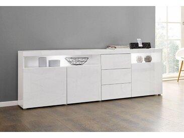 borchardt Möbel Sideboard »Kapstadt«, Breite 200 cm mit 3 Schubkästen, weiß, weiß Hochglanz/weiß Hochglanz