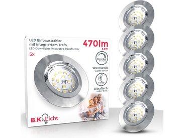 B.K.Licht LED Einbauleuchte, 3-stufig dimmbar über Wandschalter, 5x 5,5W LED Modul, 470lm, Schwenkbar, 3.000K Warmweiß, IP23, Ultra-Flach, Matt-Nickel