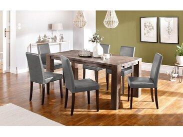 Home affaire Essgruppe »Silje«, (Set, 7-St), bestehend aus 6 Lucca Stühlen und dem Maggie Esstisch, grau, Graufarbener Stuhlbezug