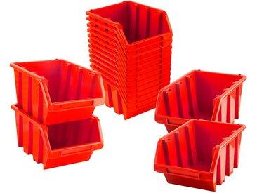 BigDean Stapelbox »Sichtlagerboxen Set 16 Stück Rot Größe 4 (23x16x12 cm) − nestbar & stapelbar«