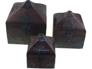 Guru-Shop Aufbewahrungsdose »Türmchen Schatztruhe, Holzschachtel, Schmuck..«