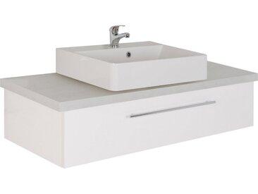 MARLIN Waschtisch »Laos 3110«, Breite 120 cm, Becken mittig, weiß, Aufsatzbecken »INGA«, Mineralmarmor