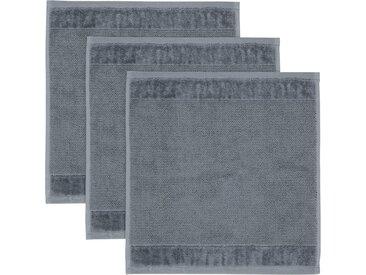 Möve Waschlappen »MÖVE Bamboo Luxe 3er Set Waschhandschuh« (3-tlg), mit seidig glänzenden Bordüren, grau, stone