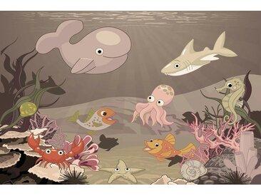 Bilderdepot24 Deco-Panel, selbstklebende Fototapete - Kinderbild - Kinderbild Unterwasser Tiere X - Meerestiere Cartoon, bunt, Vintage