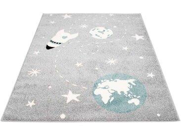 Carpet City Kinderteppich »Bubble Kids 1319«, rechteckig, Höhe 11 mm, Weltall Rakete, Kurzflor