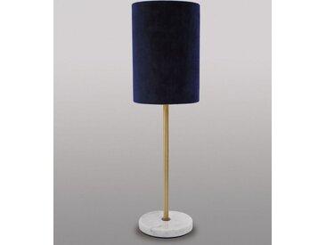 Licht-Erlebnisse Tischleuchte »MARMO Schlafzimmerleuchte Blau Echt-Messing Marmor Samt Klassisches Nachtlicht«