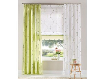 my home Gardine »Tayma«, Kräuselband (1 Stück), Vorhang, Fertiggardine, transparent, weiß, weiß-grün