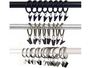 SurePromise One Stop Solution for Sourcing Gardinenring, (30-St), Gardinenringe mit Klammern Vorhangringe, Vorhang Clip Gardinenstange 38mm Vorhang Clips mit Clip Duschvorhang Metallklammern für Vorhänge und Gardinenstangen