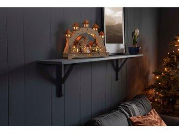KONSTSMIDE LED Holzsilhouette, Holzbrücke mit Laternen, natur, Lichtquelle warm-weiß, Natur