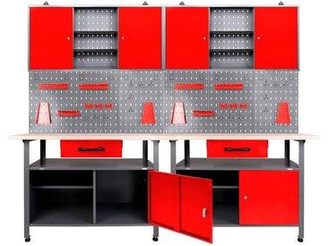 ONDIS24 Werkstatt-Set »Klaus«, 240 cm, rot, 85 cm, anthrazit/rot
