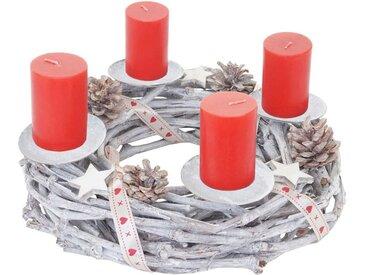 MCW Adventskranz »T783«, Ø 30 cm, Mit 4 Kerzenhaltern, Aufwendig geschmückt, weiß, weiß, rote Kerzen