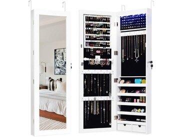 COSTWAY Schmuckschrank »Schmuckschrank« mit 15 LED Leuchten, Schmuckregal Tür- und Wandmontage, Schmuckkasten mit Ganzkörperspiegel, Schmuck Spiegelschrank für Ringe, Kettenhaken und Ohrringe