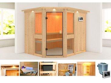 KONIFERA Sauna »Metta 3«, 245x210x202 cm, 9 kW Bio-Ofen mit ext. Strg., mit Dachkranz, natur, 9 kW Bio-Kombiofen mit externer Steuerung, natur
