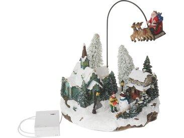 VBS Dekofigur »Landschaft Fliegender Weihnachtsschlitten« (2 Stück), mit LED Beleuchtung