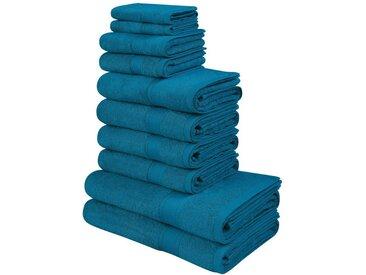 my home Handtuch Set »Moni« (Set, 10-tlg), in Premium-Qualität, blau, petrol