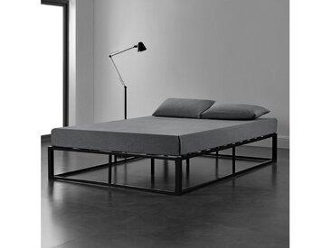 en.casa Metallbett, »Kreta« - Schwarz - 140 x 200 cm