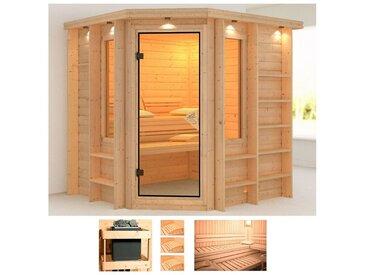 Karibu KARIBU Sauna »Cortona«, 224x210x206 cm, ohne Ofen, Dachkranz, natur, ohne Ofen, natur