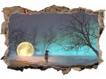 DesFoli Wandtattoo »Mystischer Wald Mond Kind Leuchtkugel D2360«