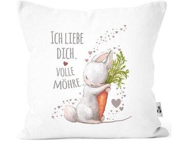 MoonWorks Dekokissen »Kissenbezug Liebesgeschenk Ich liebe dich volle Möhre Hase mit Karotte Liebesbotschaft Liebesbeweis Moonworks®«