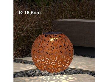 etc-shop LED Solarleuchte, LED Design Solar Kugel Steck Leuchten rost silber Garten Außen Erdspieß Lampen Terrasse, rost D 18.5 cm