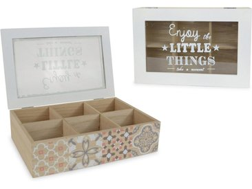 Aufbewahrungsbox, mit 6 Fächern und Schriftzug, natur, natur-weiß-transparent