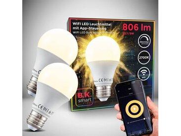B.K.Licht LED-Leuchtmittel, E27, 2 Stück, Warmweiß, App- Sprachsteuerung I Alexa Google Home I iOS & Android I WLAN Glühbirne I Smartes Leuchtmittel