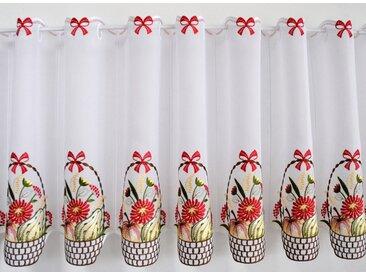 Stickereien Plauen Scheibengardine »Obstkorb«, Stangendurchzug (1 Stück), mit echter Plauener Spitze Stickerei