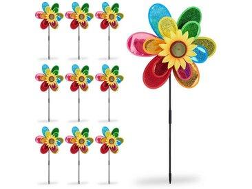 relaxdays Windrad »10 x Windrad Blume«