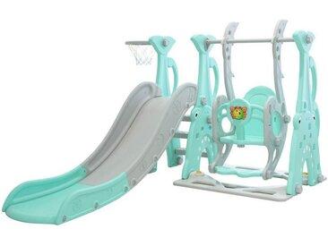 Clamaro Indoor-Rutsche, ( Rutsche Schaukel, Basketballkorb und Musikmodul 3 in 1), Rutsche, Schaukel für Kinder, Kinderrutsche, Garten, Baby, drinnen oder draußen