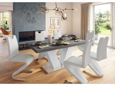 Esstisch »Komfort D«, mit V-Gestell in weiß und mit Auszugsfunktion, Breite 180-260 cm, weiß, weiß-graphit