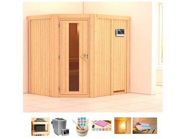 KONIFERA Sauna »Oliv 2«, 196x170x198 cm, 9 kW Bio-Ofen mit ext. Strg., Energiespartür, natur, 9 kW Bio-Kombiofen mit externer Steuerung, natur
