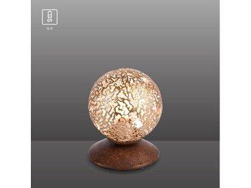 Paul Neuhaus Tischleuchte, Landhaus Stil, dekorativer Leuchtkugel, G9-Fassung »GRETA«, braun, rostfarben