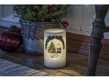 KONSTSMIDE LED Echtwachskerze Weihnachtsmann mit Hund, weiß, Lichtquelle warm-weiß, Weiß