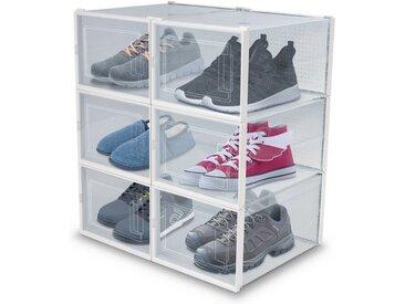achilles Stapelbox »Schuh-Boxen 6er Set Aufbewahrungs-Regal für Schuhe Faltbar und Stapelbar Schuh-Organizer Schuh-Schrank mit transparenter Tür«, M