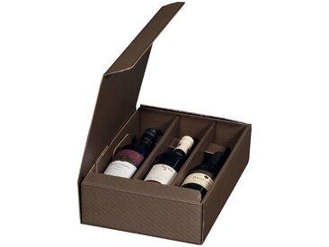 Smartbox Pro Geschenkbox (50 Stück), Geschenkverpackungen aus Wellpappe 252x 96x363mm Präsentationskarton Weinverpackung 3 Flaschen Braun, braun