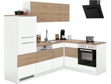 Winkelküche »Trient«, ohne E-Geräte, Stellbreite 230 x 170 cm, weiß, weiß-eichefarben