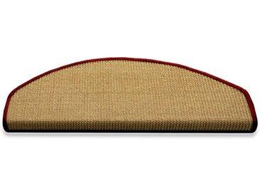 Floordirekt Stufenmatte »Salvador Natur mit farbiger Kettelung«, Halbrund, Höhe 6 mm, 100% Sisal, 1A, rot, Rot